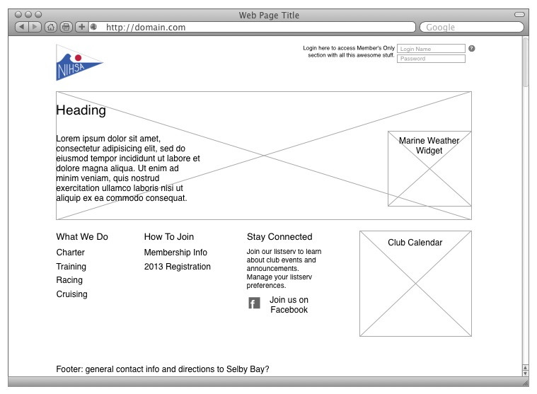 NIH Sailing Association Homepage Wireframe