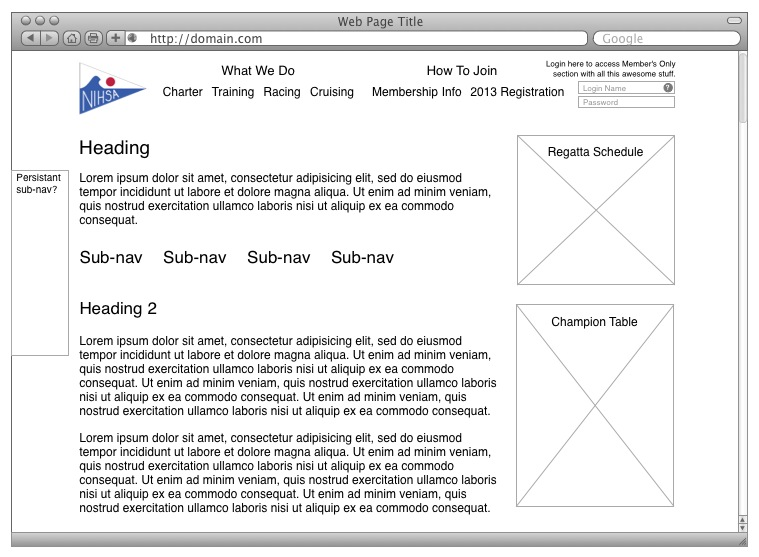 NIH Sailing Association Inner Page Wireframe