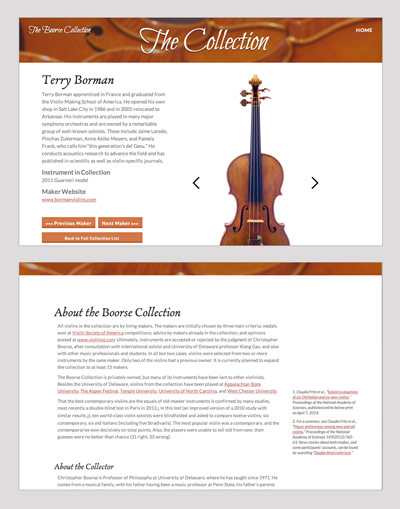 The Boorse Collection of Contemporary Violins website