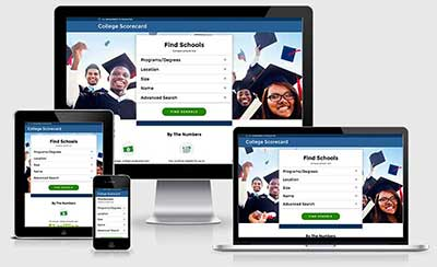 College scorecard responsive views, homepage