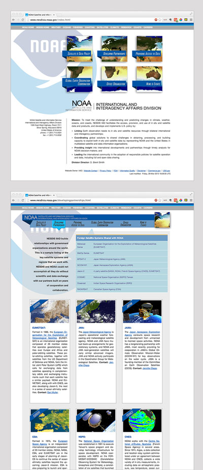 NOAA Satellite and Information Service International and Interagency Affairs Division website redesign